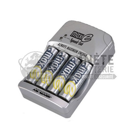 Chargeur rapide de piles AA et AAA NiMH – 4 AA 2100mAh incluses  – Maxe ANSMANN
