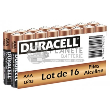 Pile Alcaline : Pack de 16 piles alcalines AAA - LR03 1.5V DURACELL