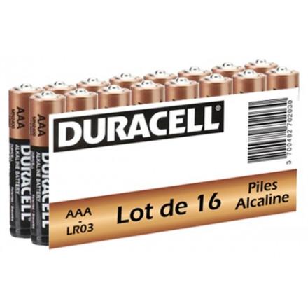 Pack de 16 piles alcalines AAA - LR03 1.5V DURACELL