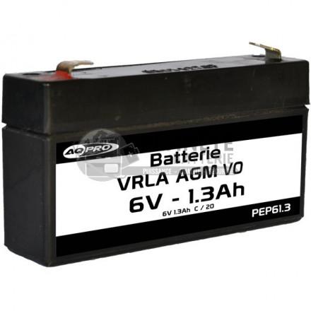 Batterie plomb étanche 6V 1.3Ah VRLA AGM flamme retardante