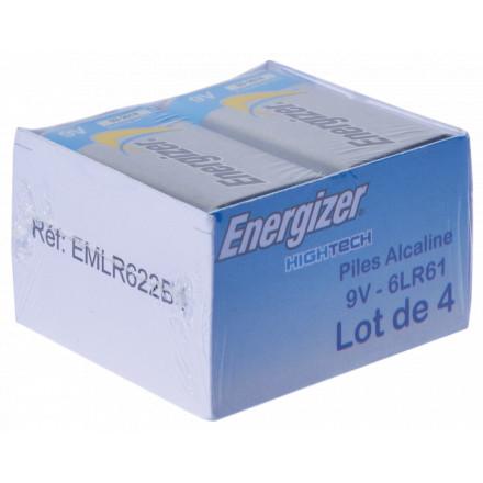 PILE 6LR61 9V ALCALINE HIGH TECH ENERGIZER PACK DE 4