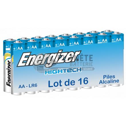 Pile Alcaline : PILE AA LR6 1.5V ALCALINE HIGH TECH  ENERGIZER PACK DE 16