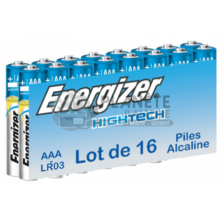 PILE AAA LR03 1.5V ALCALINE HIGH TECH ENERGIZER PACK DE 16