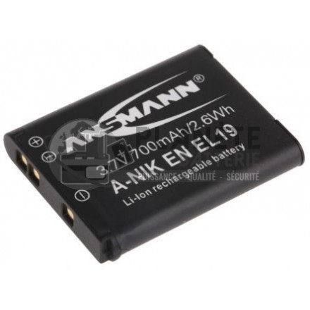 Batterie type Nikon EN-EL19 appareil photo Nikon - 3.7V, Li-Ion, 700mAh, 2.6Wh