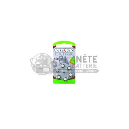 6 piles zinc-air 312 - PR41 - 1.4V Rayovac 0% mercure