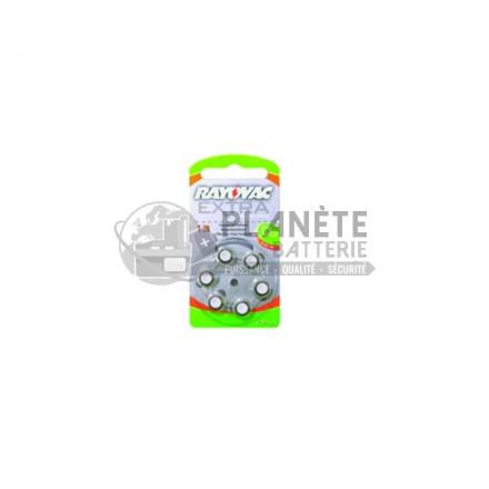 6 piles zinc-air 13 - PR48 - 1.4V Rayovac -0% mercure