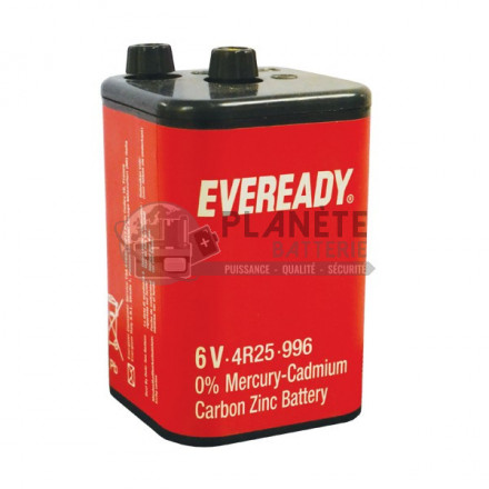 Accueil : Pile saline 4R25 - 6V à vis EVEREADY
