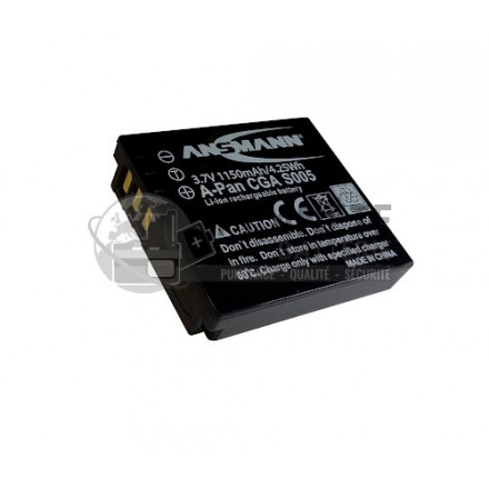 Batterie type Panasonic CGA-S005 - appareil photo PANASONIC - 3.7V, Li-Ion, 1150mAh, 4.25Wh