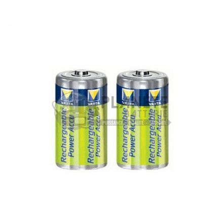 Pile Rechargeable : 2 PILES RECHARGEABLES C - NIMH - 3000MAH - VARTA POWER ACCU