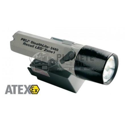 LAMPE TORCHE RECHARGEABLE ATEX ZONE 1 À RECOIL LED - PELI STEALTHLITE 2460Z1 - AVEC CHARGEUR