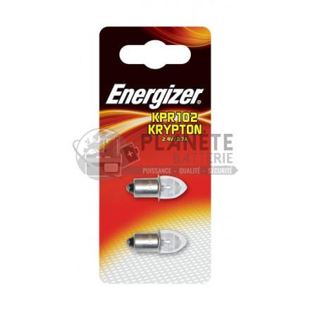 Ampoule Krypton ENERGIZER KPR102 - Culot lisse préfocus - 2.4V - 0.7A - Lot de 2 ampoules