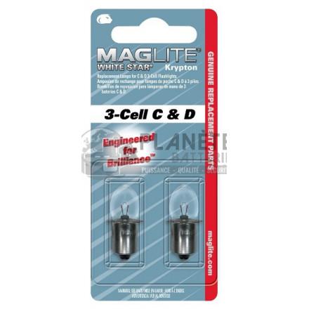 Ampoule Krypton MAGLITE pour torche MAGLITE ML3. LCL3 - 3D. 3C - Culot lisse préfocus - Lot de 2 ampoules