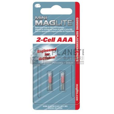 Accessoires et Ampoules : Ampoule Krypton MAGLITE pour torche MAGLITE mini R6 ou super mini R3 - Culot à broches - Lot de 2 ampoules