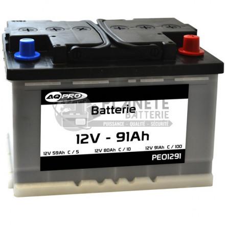 Batterie à décharge lente 12V 91Ah - prête à l'emploi - semi-stationnaire à plaques planes